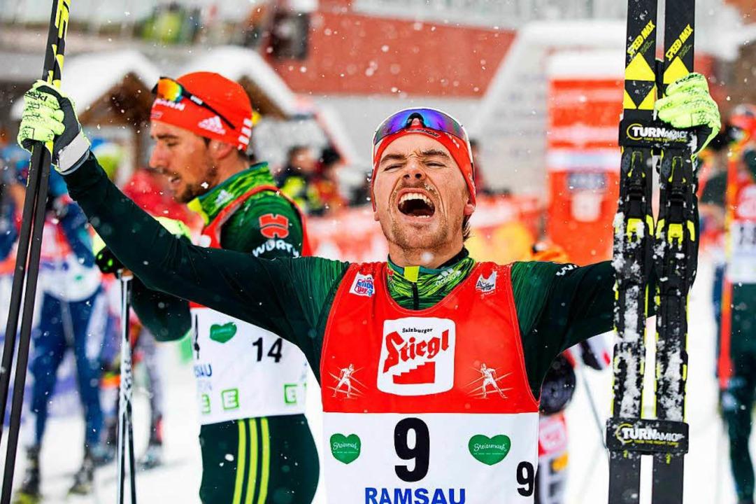 Gerne Rampensau: Fabian Rießle feierte...hnachten seinen sechsten Weltcupsieg.   | Foto: afp