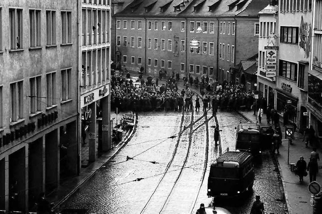 Studentendemonstration in der Bertoldstraße   | Foto: Willy Pragher (Staatsarchiv FReiburg