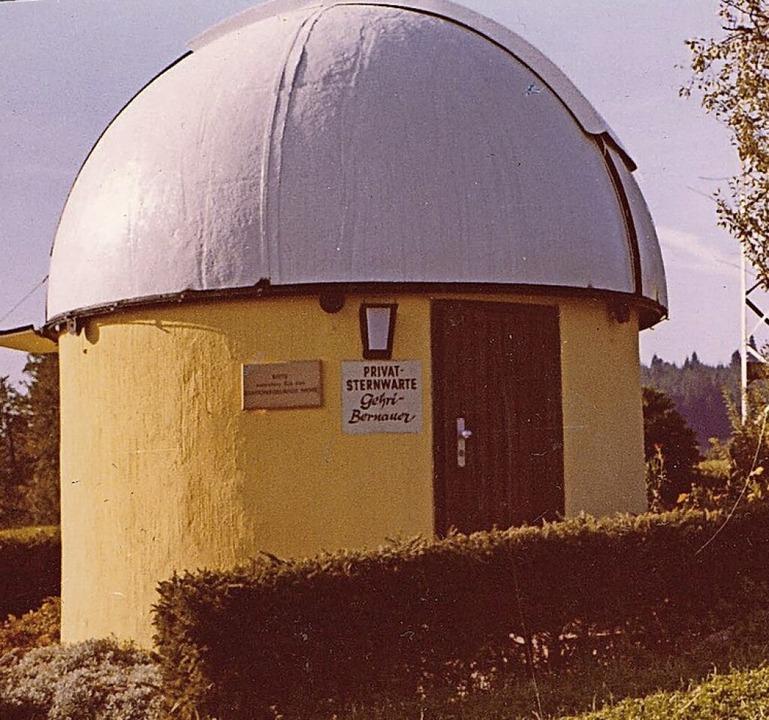 Die von Franz Bernauer und Hans Gehri erbaute Sternwarte    Foto: bz