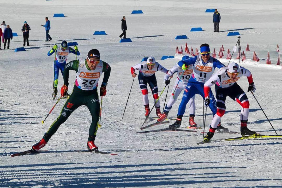 Janosch Brugger (links), hier beim Spr... Kilometer klassisch auf Rang sieben.   | Foto: zvg
