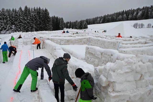Das Schneelabyrinth in Bernau ist ein Irrgarten in Weiß