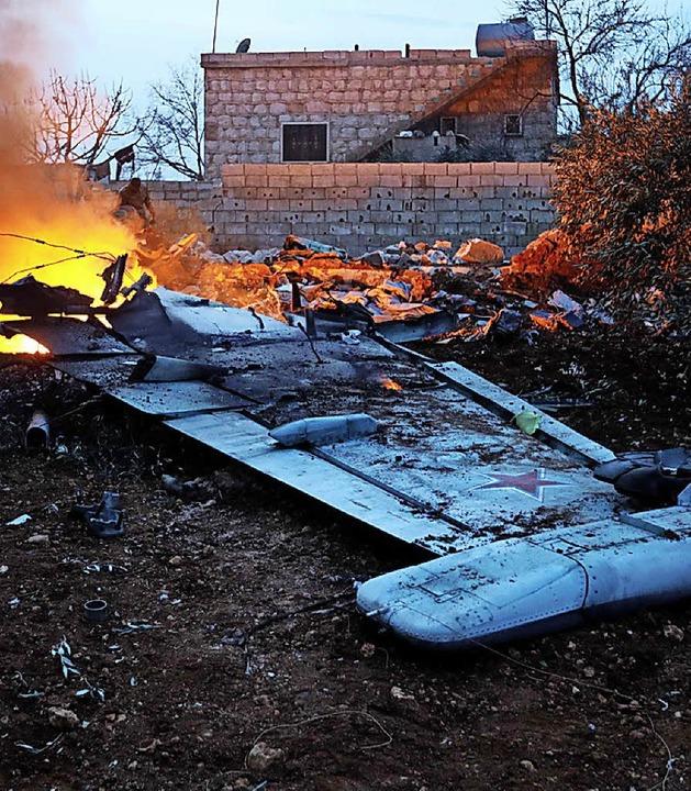 Wrack des russischen Kampfjets in Syrien nahe Aleppo    Foto: AFP