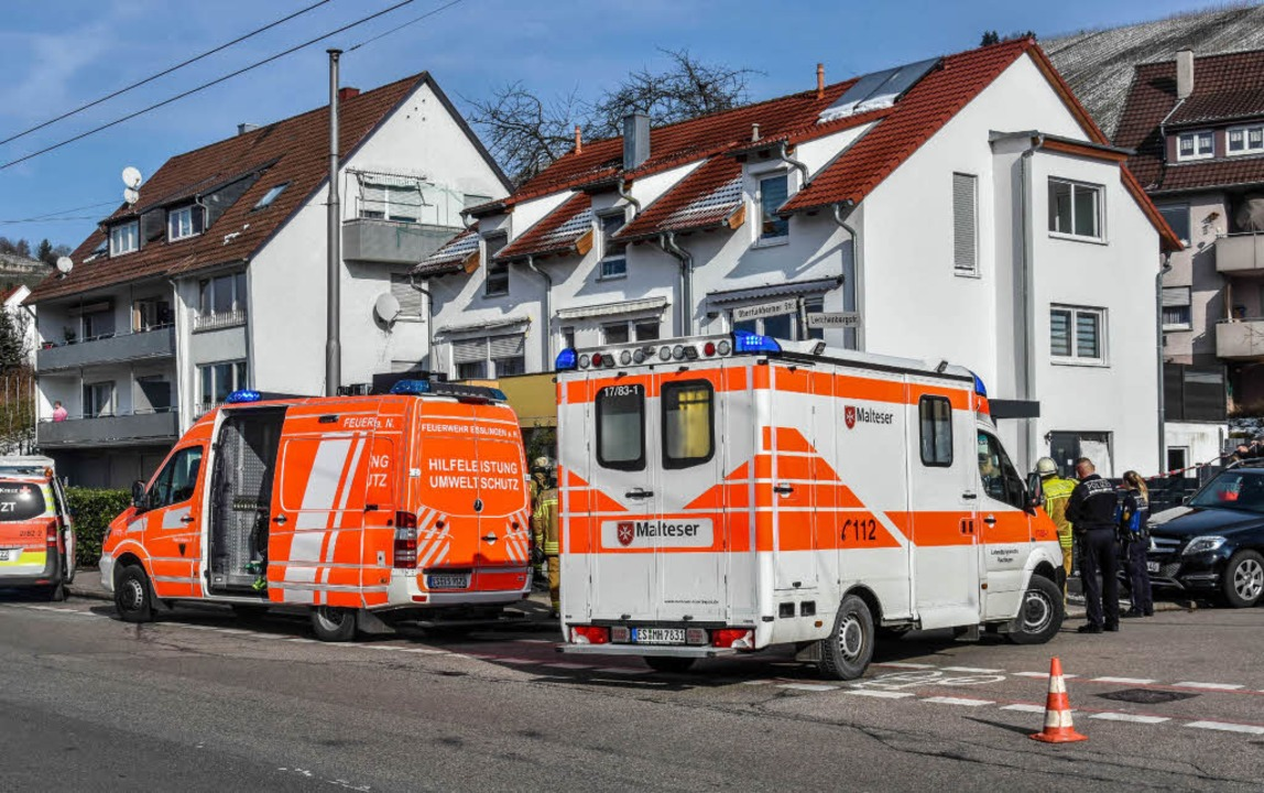 Polizei und Rettungskräfte rücken in Esslingen zu einem Großeinsatz aus.  | Foto: dpa