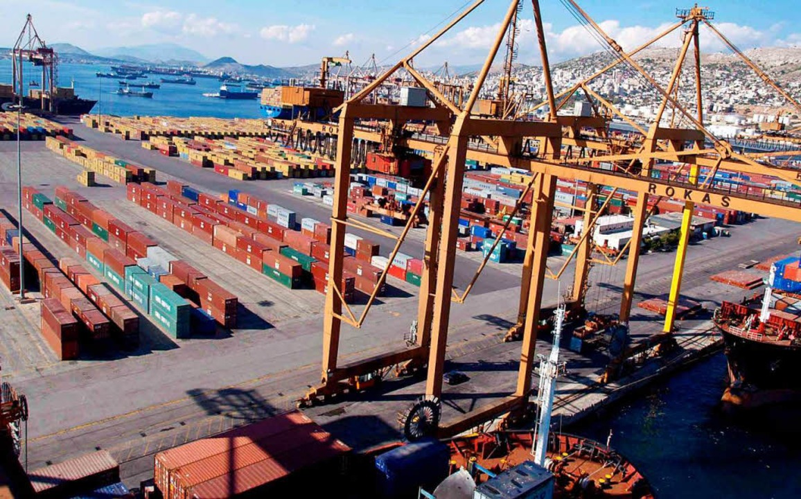 Containerterminal im Hafen von Piäus    Foto: epa ANA Giorgos Christakis