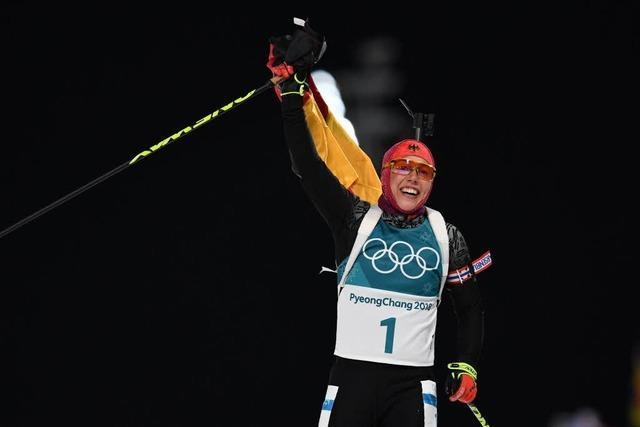 Laura Dahlmeier läuft zu ihrer zweiten Goldmedaille