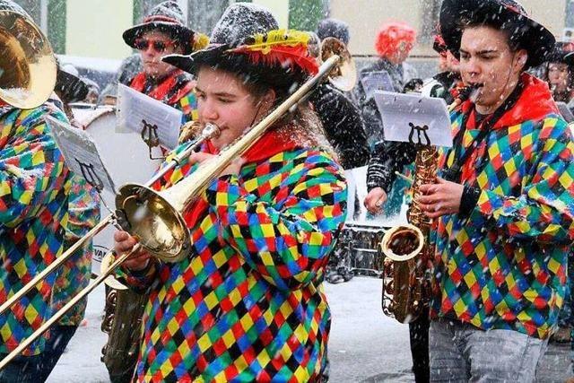 Fotos: Görwihler Narren feiern Umzug im Schneetreiben