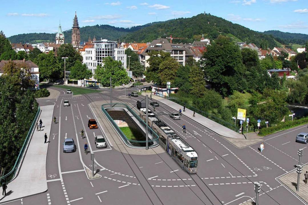 So soll die Kronenbrücke  einmal ausse... die B31 alle drei bis vier Minuten.    | Foto: Visualisierung: Stadt Freiburg