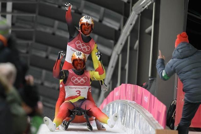 Tobias Wendl und Tobias Arlt rodeln zu Gold im Doppelsitzer