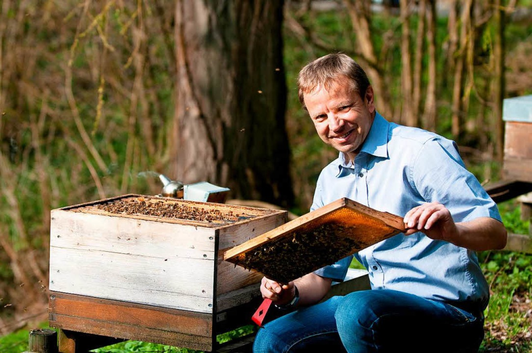 Peter Rosenkranz, Leiter der Landesans...sität Hohenheim, mit einem Bienenstock  | Foto: Oskar EYB