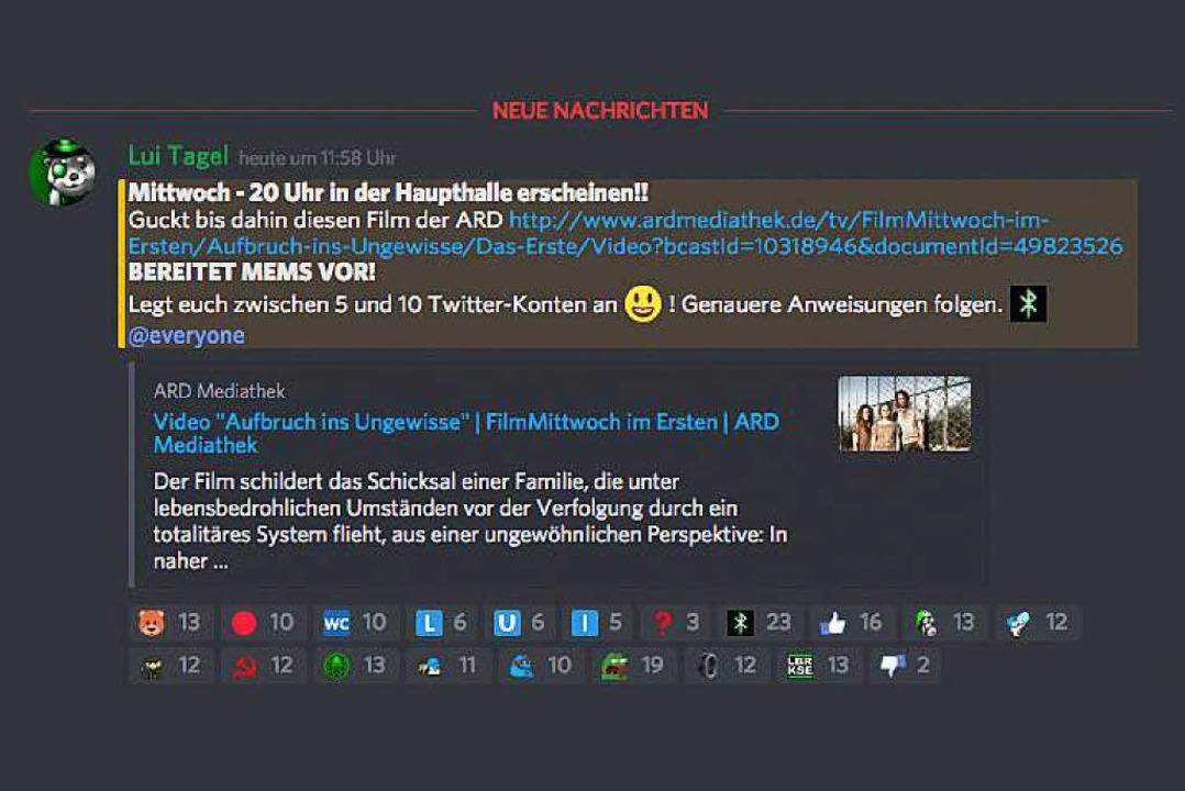 Screenshot einer Nachricht bei Reconquista Germanica  | Foto: bz/Screenshot