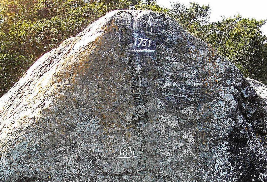 Am Stein von Anders Celsius wird das Landwachstum deutlich.   | Foto: dpa