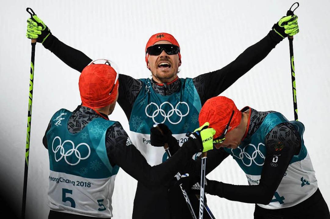Silber in Pyeongchang: Fabian Rießle (...Triumph in der Nordischen Kombination.  | Foto: AFP