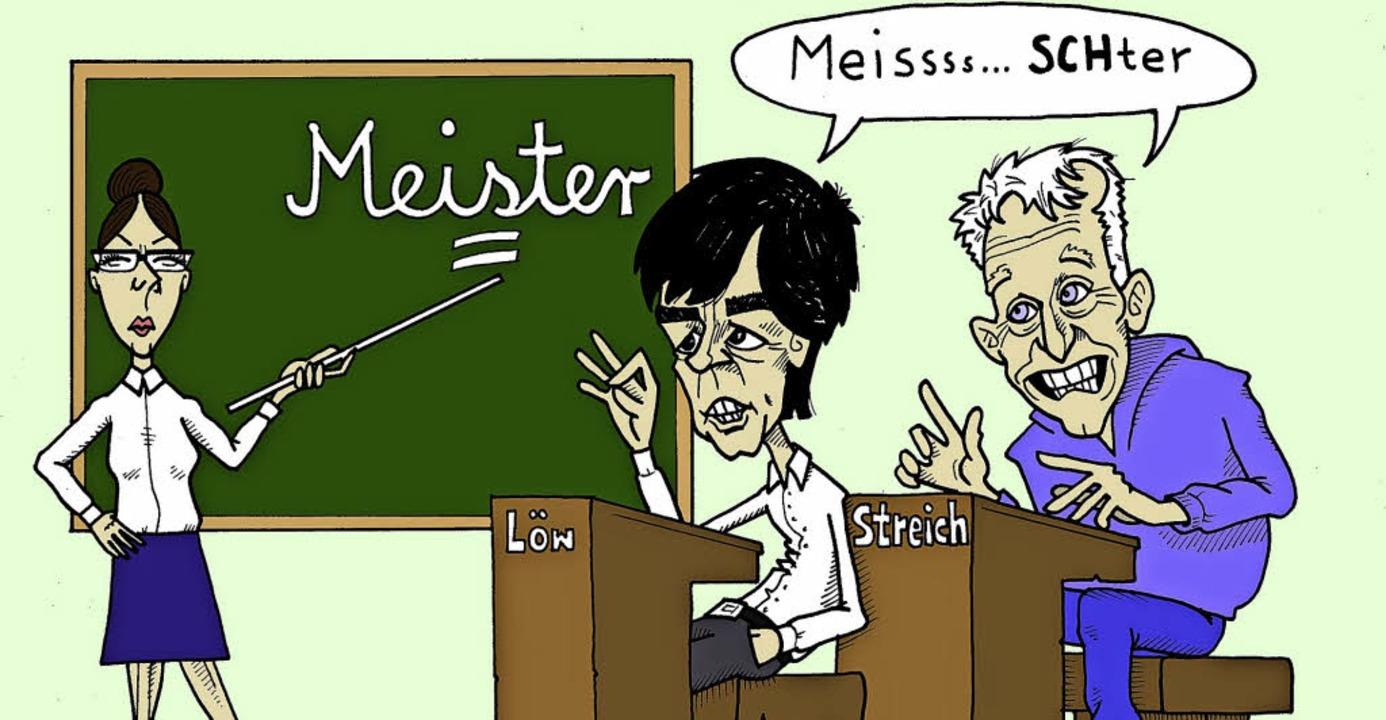 Zwei prominente Alemannen: die Fußballtrainer Jogi Löw und Christian Streich     Foto: Zeichnung: Thomas Muffler