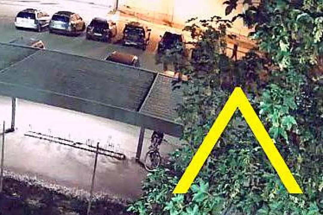Der Pfeil zeigt den verdächtigen Mann.  | Foto: Polizei