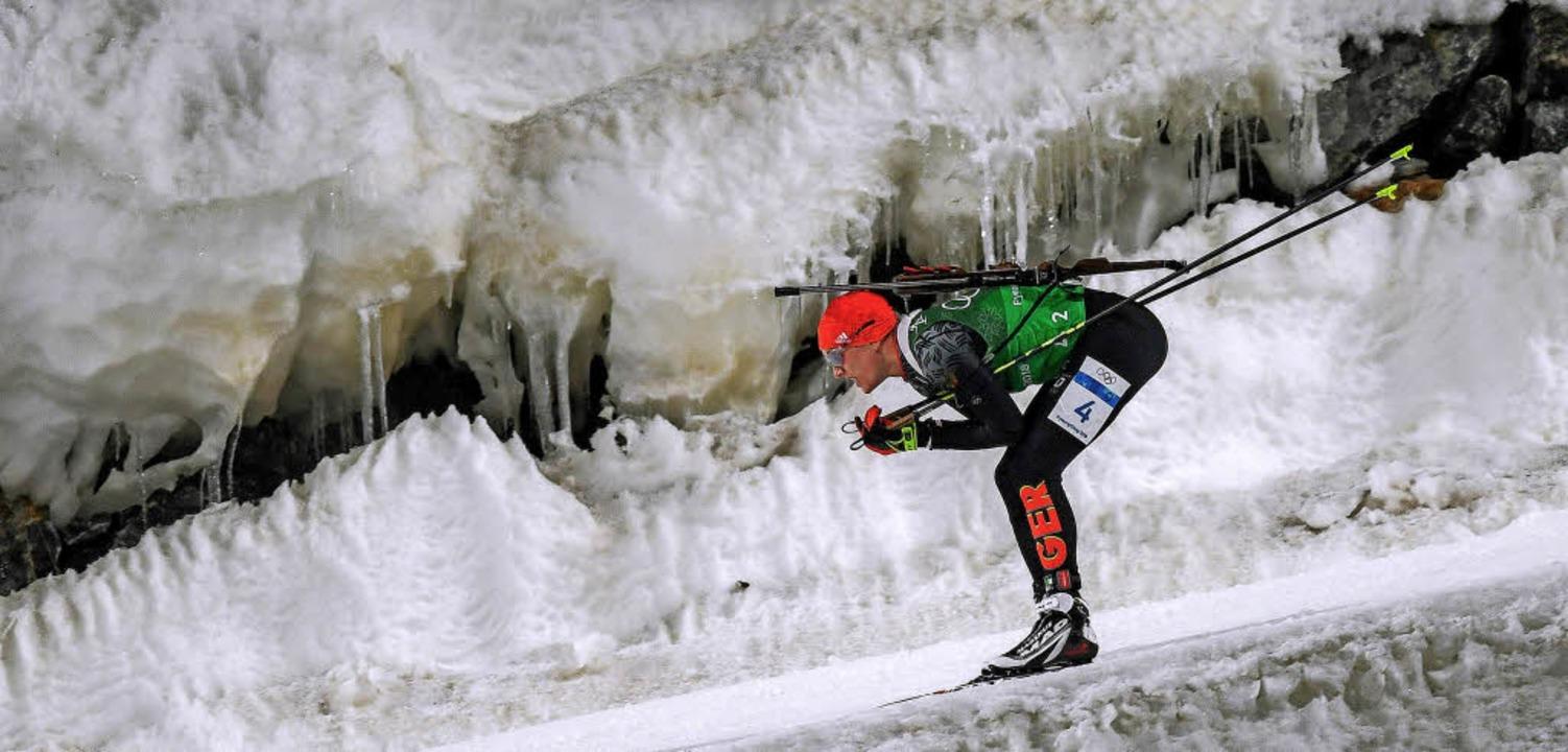 Es waren kalte, sehr kalte Spiele: Der...affel. Die Deutschen gewannen Bronze.     Foto: DPA