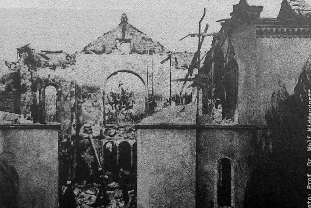 Die Fotografie galt als das einzig übe...nt der zerstörten Freiburger Synagoge.  | Foto: -