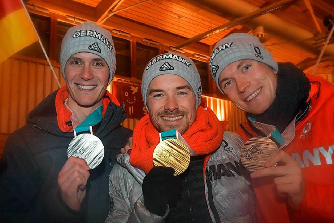 Stephan Leyhe, Fabian Rießle und Bened...er Kultur- und Sporthalle in Breitnau.    Foto: Wolfgang Scheu