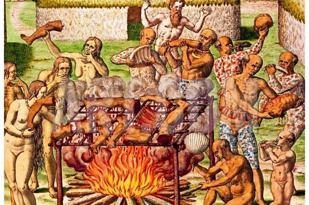Das Klischee vom menschenfressenden Wi... Kupferstich von Theodor de Bry (1592)  | Foto: -