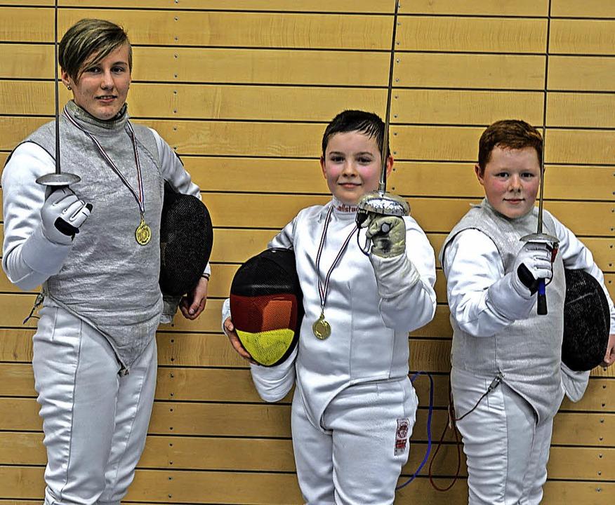 Erfolgreiche Lahrer Fechter (von links...e Leier, Hagen Scheid und Max Maletz.   | Foto:  Anke Maletz