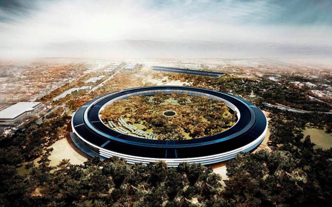 Das neue Bürogebäude von Apple in Cupertino.  | Foto: Foster + Partners / Handout