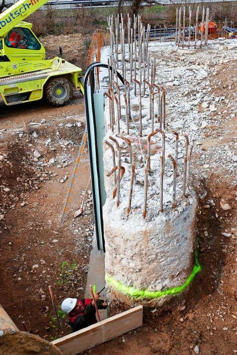 Die Betonbohrpfähle sind mehrere Meter hoch.  | Foto: Manfred Frietsch