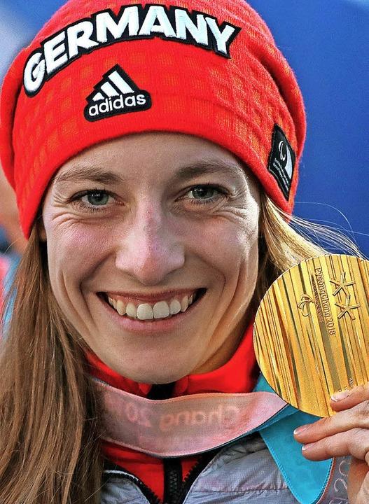 Anna Schaffelhuber scheffelt Gold.  | Foto: dpa
