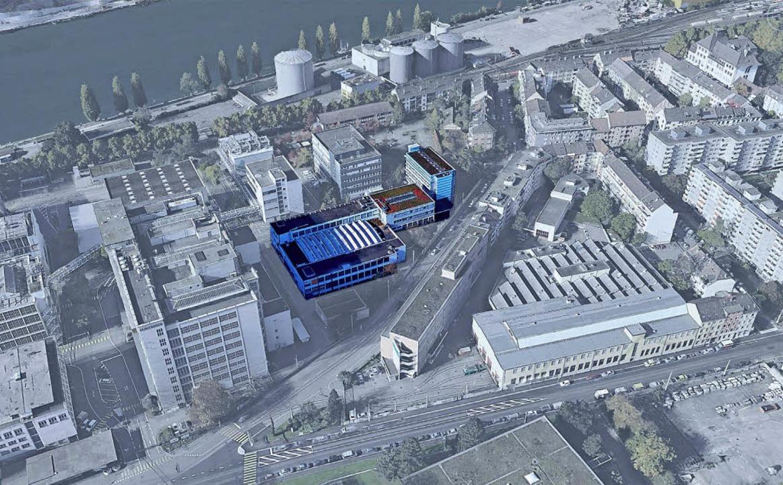 Ein Ausschnitt des Kylbeck-Areals mit ...n, die auf dem Foto  eingefärbt sind.   | Foto: BASF