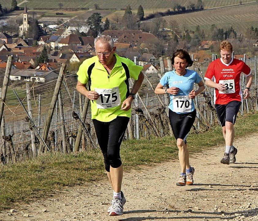 Der Sonne entgegen: Läufer beim Frühlingslauf in Sulzburg   | Foto: Stinn