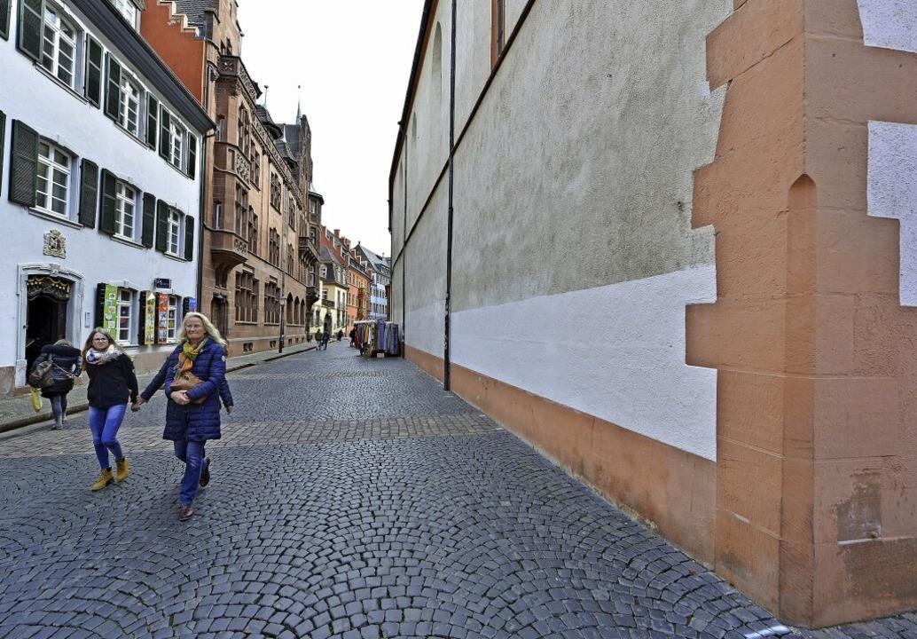 Platz für 24 Radparkplätze wäre zum Beispiel am Rand der Franziskanergasse.   | Foto: Michael Bamberger