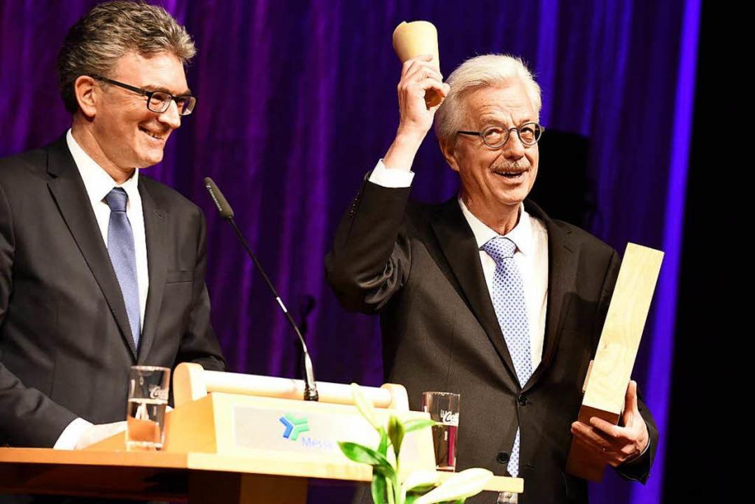 Oberbürgermeister Dieter Salomon (link...hein für lebenslanges Currywurstessen.  | Foto: Rita Eggstein