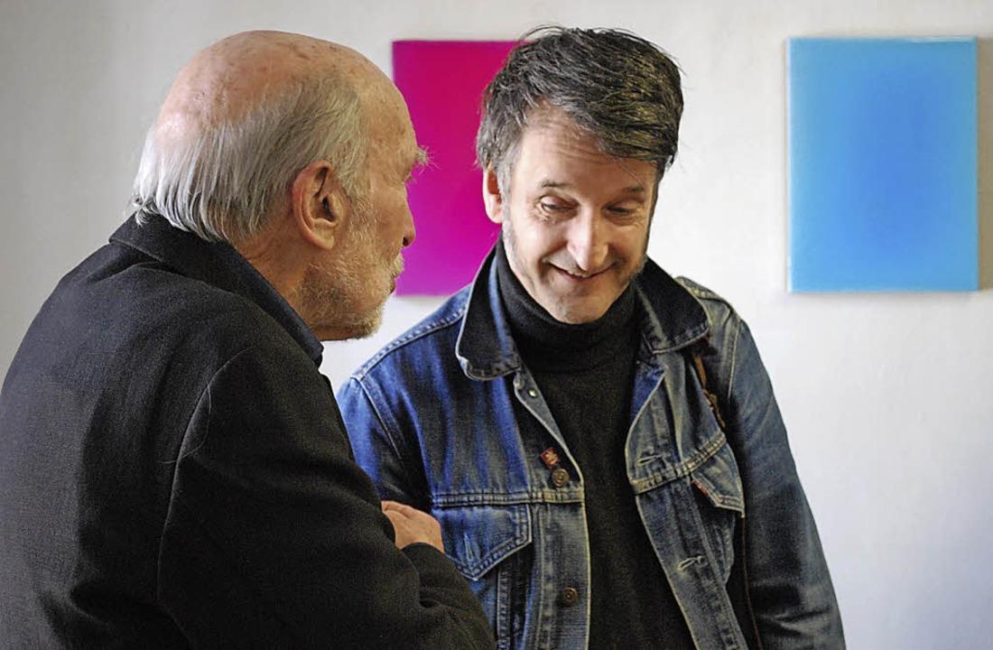 Werner Windisch (r.)  im Gespräch mit Fritz Kendel.    Foto: Sylvia-Karina Jahn