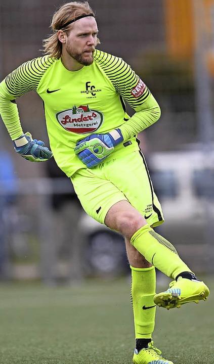 Torwart Dominik Bergdorf kommt mit dem FC Denzlingen nach Offenburg.   | Foto:  Patrick Seeger