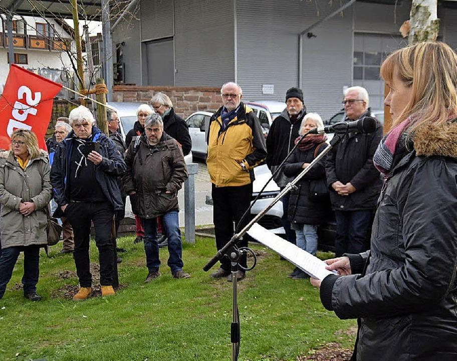 Birte Könnecke bei ihrer Ansprache in Ihringen  | Foto: Oswald Prucker