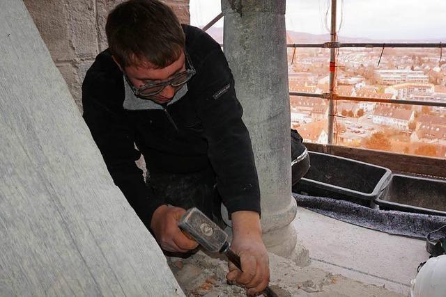 Glockenstuhl im Nordturm des Münsters wird aufwendig saniert
