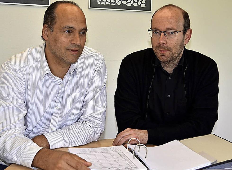 Für Volker Pietschmann (links) und Ste...d Kirche ein reizvolles Aufgabenfeld.     Foto: Schulzentrum