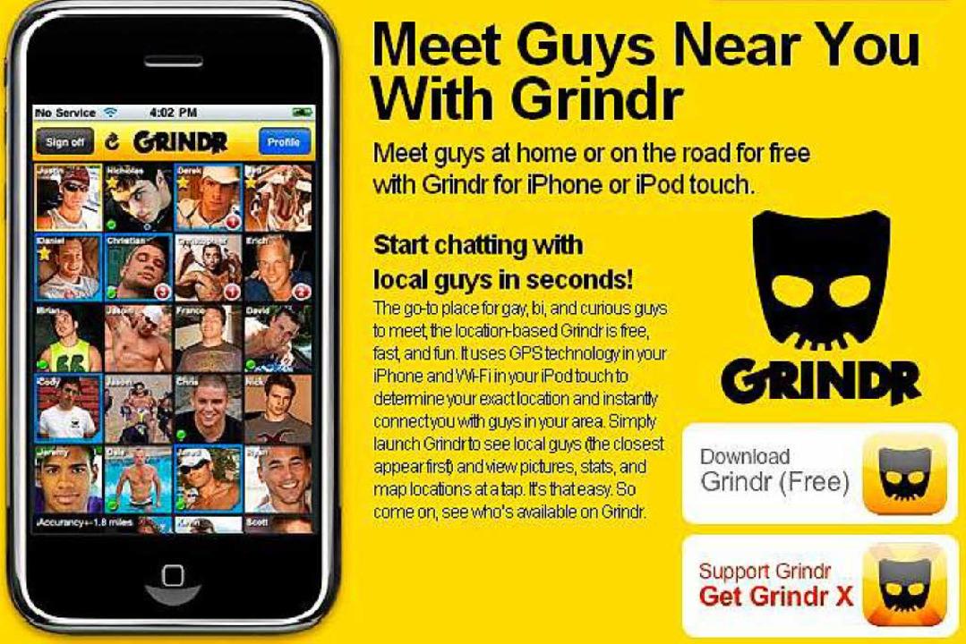 Die Website von Grindr war 2010 noch bunter.  | Foto: Screenshot