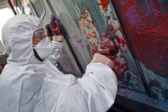 Großflächige Graffitis an Reisezugwagons