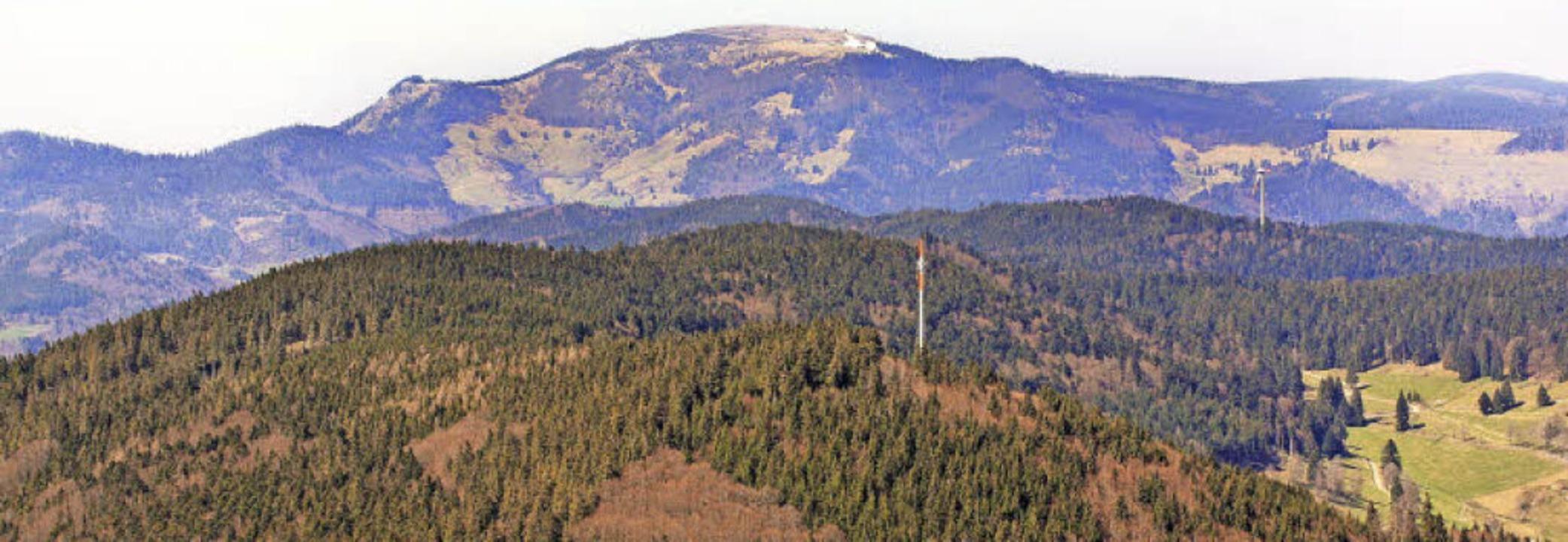 Vom Gipfel des Zeller Blauen (vorne) b...en soll sich der Windpark erstrecken.     Foto: Erich Meyer