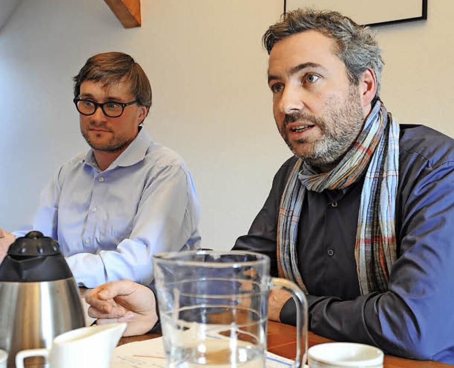 Alexander Sladek (rechts) und Tobias T...n sich den Fragen der BZ im Interview.    Foto: Nicolai Kapitz