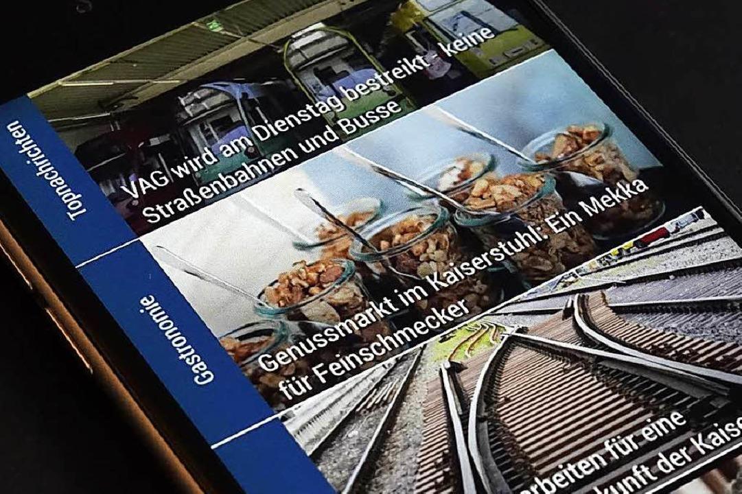 Die Startseite der Nachrichten-App BZ ... stark reduzierte Kennenlernpreise an.  | Foto: Wolfgang Grabherr