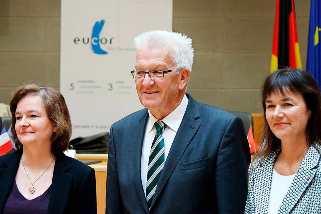 Ministerpräsident Winfried Kretschmann... Universität Straßburg, Sophie Bejean.  | Foto: dpa