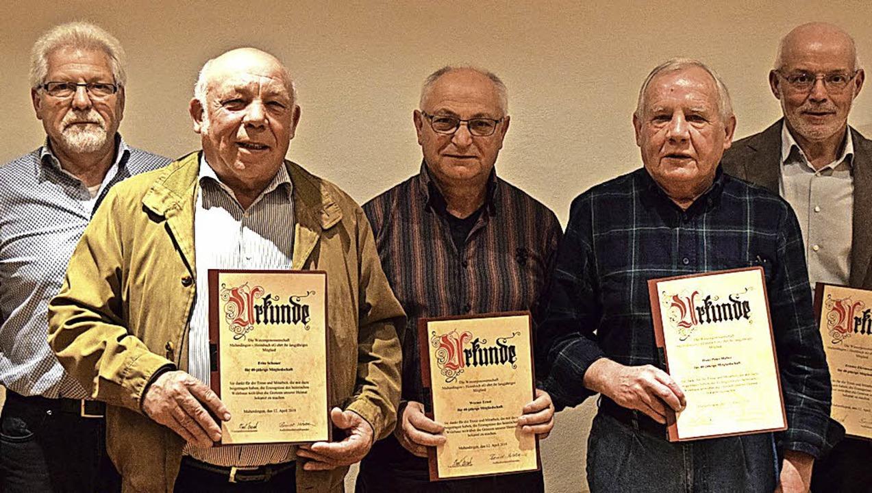 Alfred Schöchlin, Fritz Schoner, Werne...in für 50 Jahre Mitgliedschaft geehrt.  | Foto: Marie Wintergerst