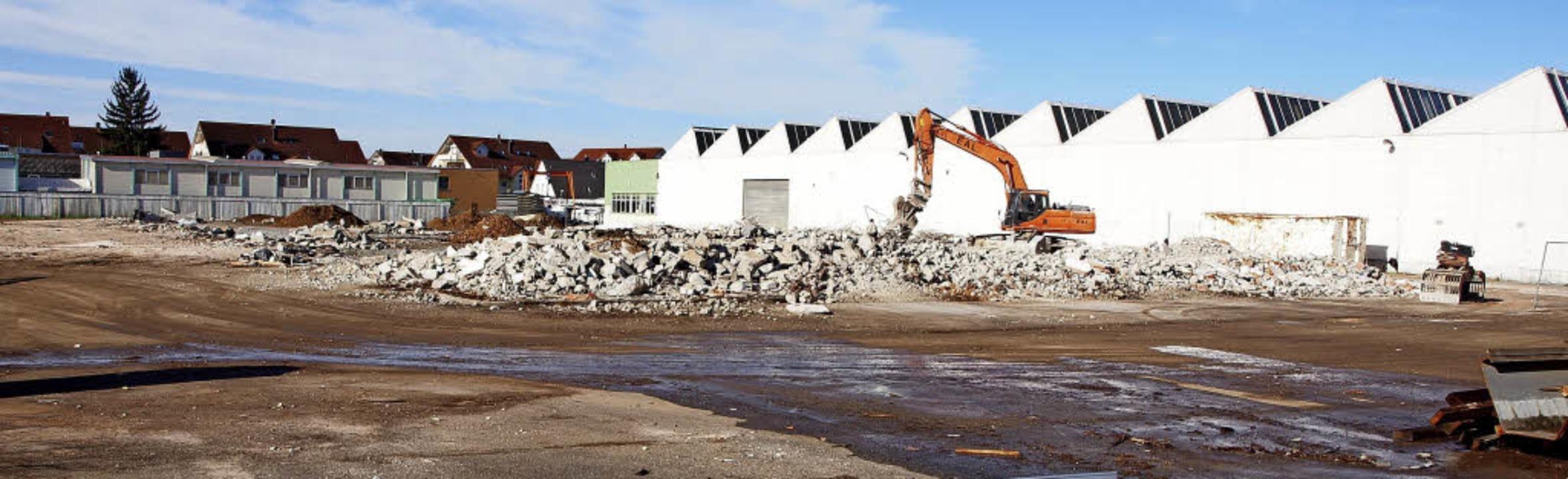 Die Industriehallen der früheren Firma...tz sollen fünf Wohngebäude entstehen.     Foto: Michael Haberer