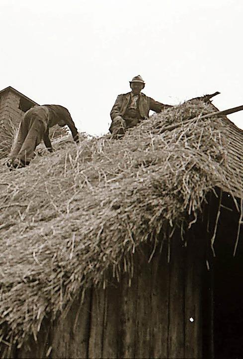 Die Dachdeckerarbeiten im Jahr 1979   | Foto: Heinrich Fehrenbach