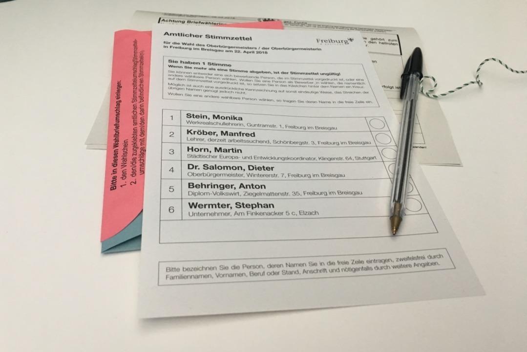 Am 22. April wählen Freiburgerinnen un...iburger den nächsten Oberbügermeister.  | Foto: Carolin Buchheim