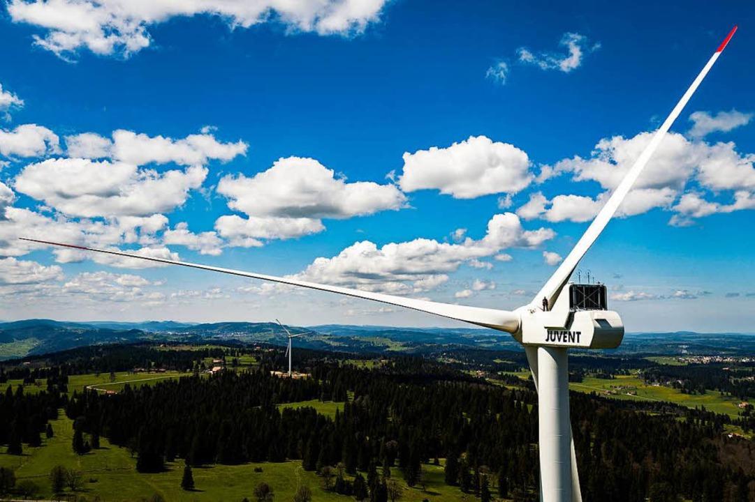 Keine Windkraftanlage soll es im Prälatenwald geben. (Symbolbild)  | Foto: dpa