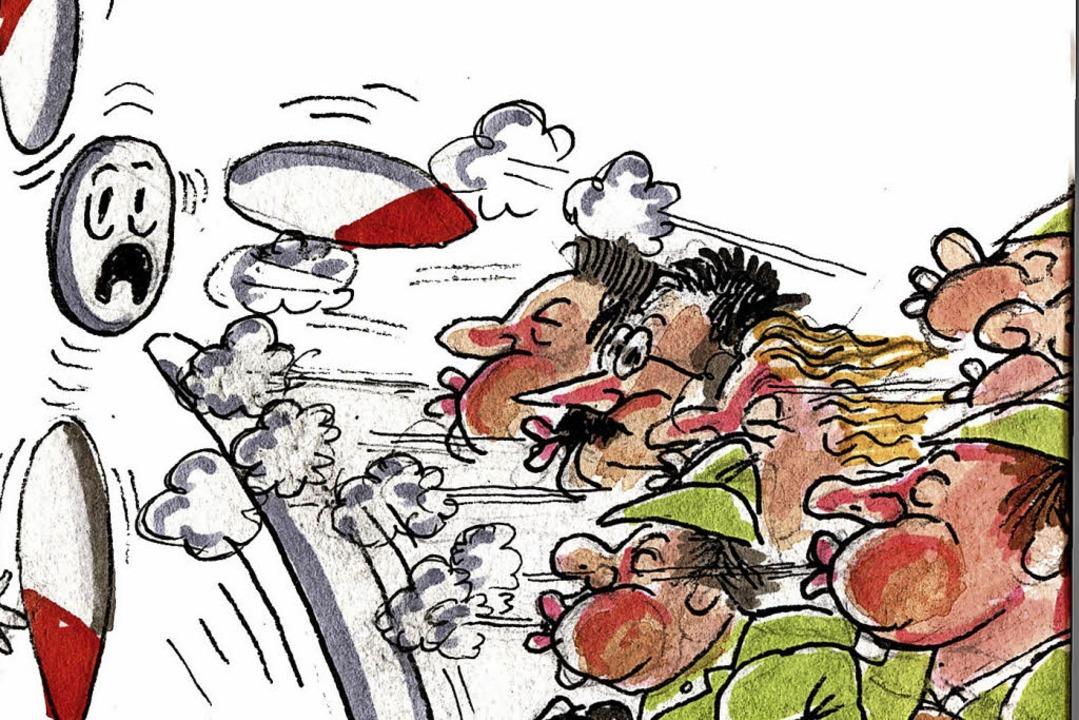 Gegenwind kann auch durch zu wenig Wind entstehen.  | Foto: Karikatur: Bert Kohl