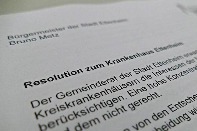 Resolution für Erhalt des Klinikums Ettenheim