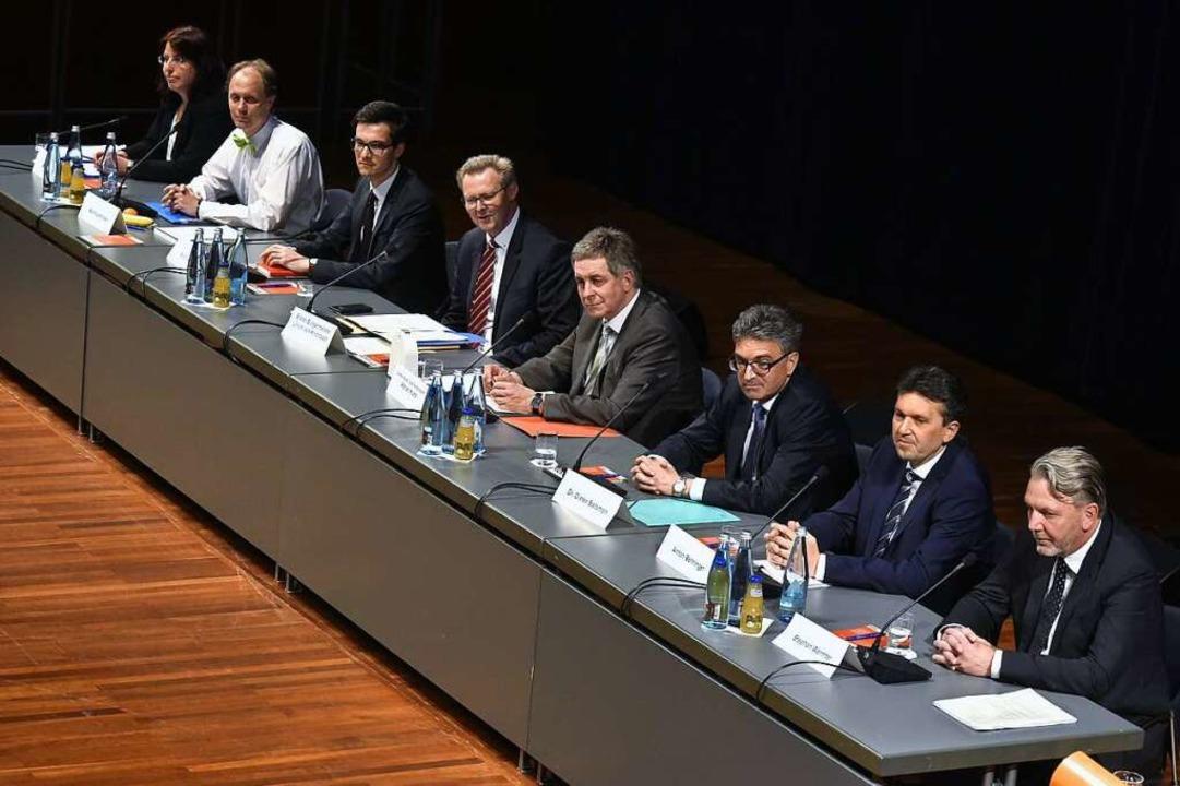 Die Wahlkämpfer (von rechts): Stephan ... Stein, Manfred Kröber und Martin Horn  | Foto: Thomas Kunz