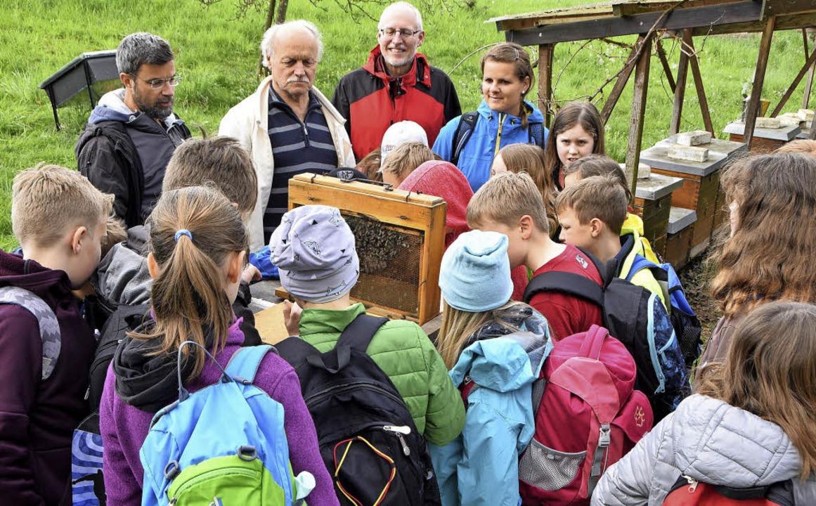Die Hobby-Imker Andreas Walter und Wil...en Viertklässler auf dem Bienenstand.   | Foto: Donner